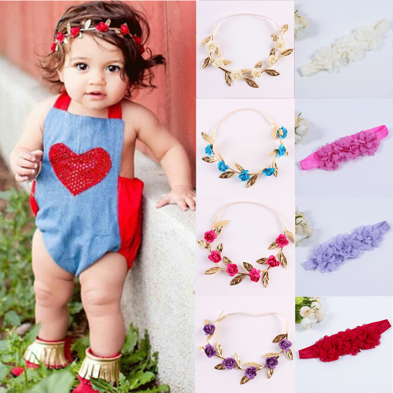 Cute Toddle Kids Baby Girl Headwear Fashion Bow Flower Headband Chiffon Hair Band Accessories Head Wrap Cloth Girls Headbands fashion bow dot hair sticker magic paste post fabric flower rabbit mini bb girl headband hair comb accessories 6pcs jewelry gift