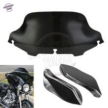 "Drak Smoke 6"" Motorcycle Front Windshield And Wind Deflector Fairing Air Wing case for Harley Touring Street Glide 1996-2013(China)"