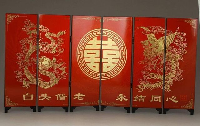 Blessing chinese nice wedding gifts handwork painting dragon phoenix screen in screens room Bless home furniture outlet
