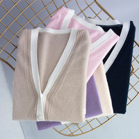 Smpevrg spring new cashmere sweater women sweaters cardigan long sleeve big V neck women cardigan female knitted fashion knitted
