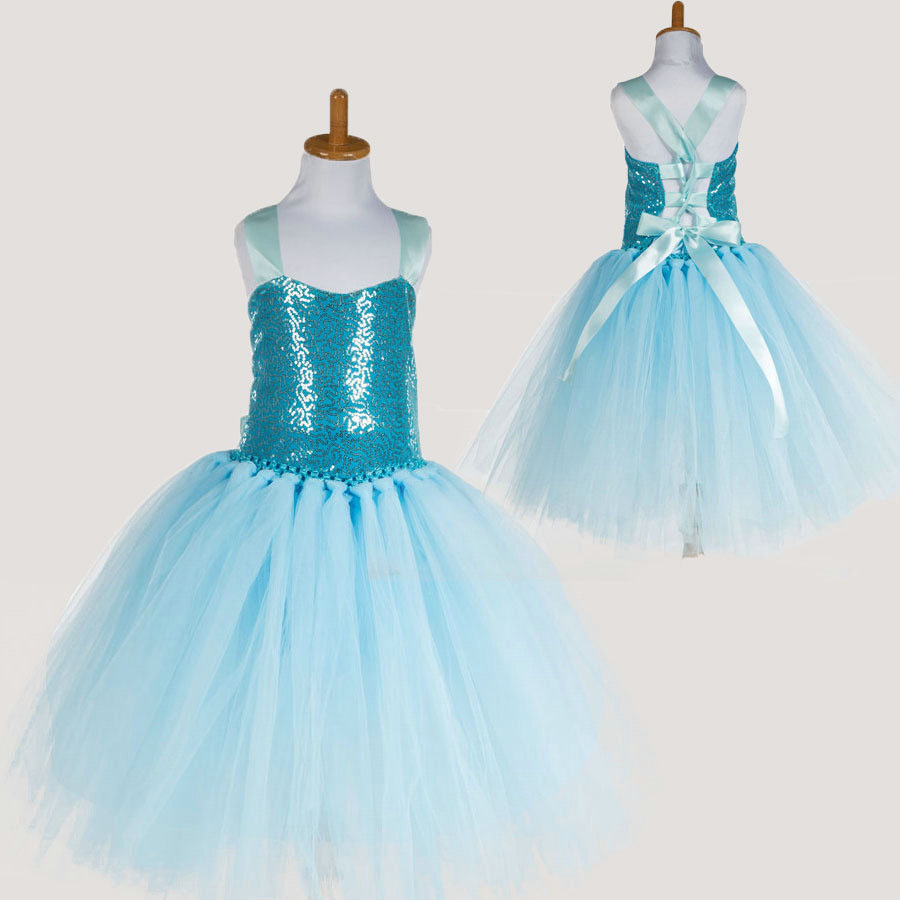 Fashion blue tutu girls dress sequin short tulle dress for girl ...