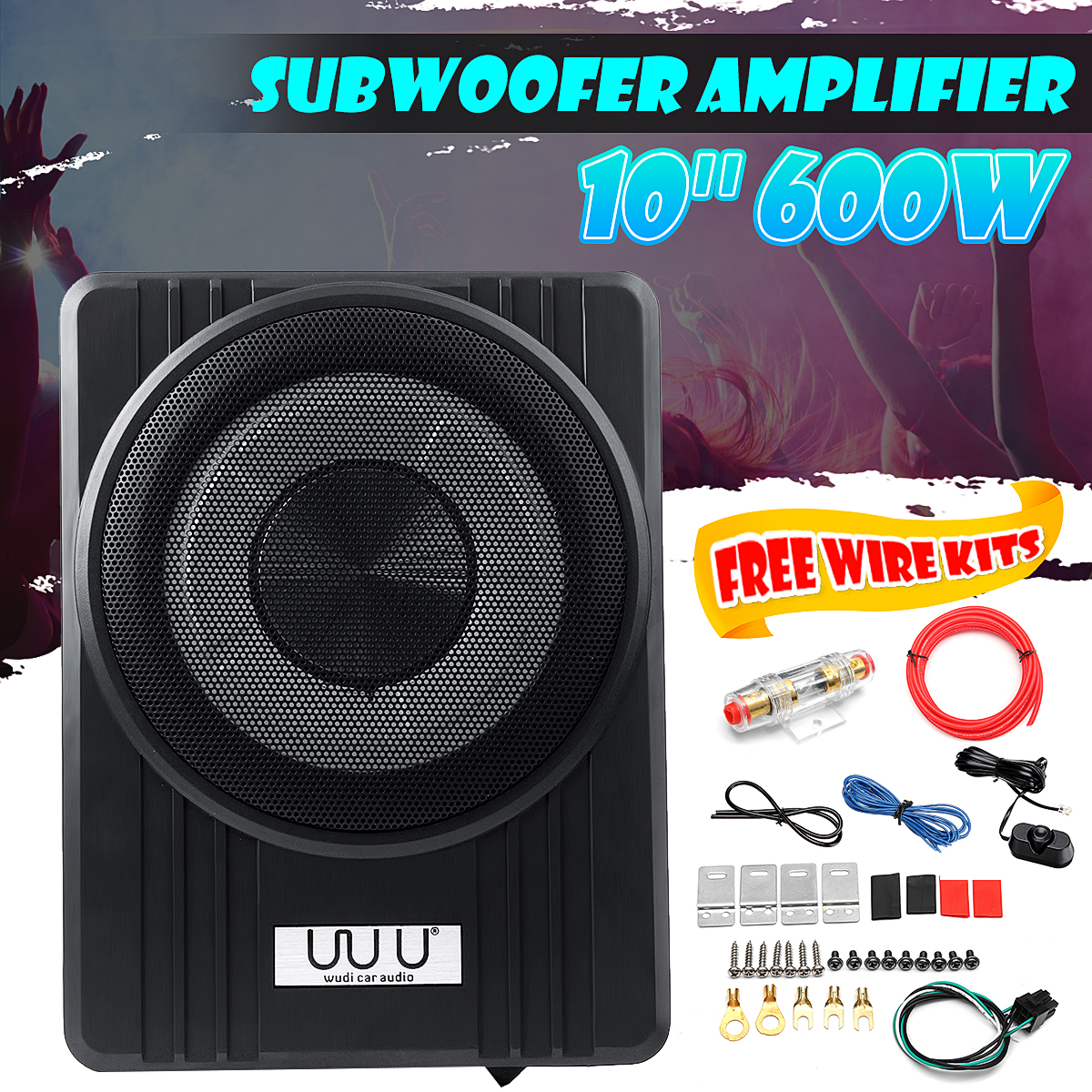 10 600W Ultra Thin Car Active Subwoofer Speaker Under Seat Vehicle Subwoofer Bass Amplifier Enclosure Car Audio Amplifier