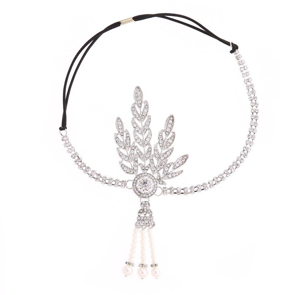 New Wedding Bridal Great Gatsby Charleston 1920s Vintage Pearls Headpiece Headband Pearl Crown Head Hair Dress Band Accessories