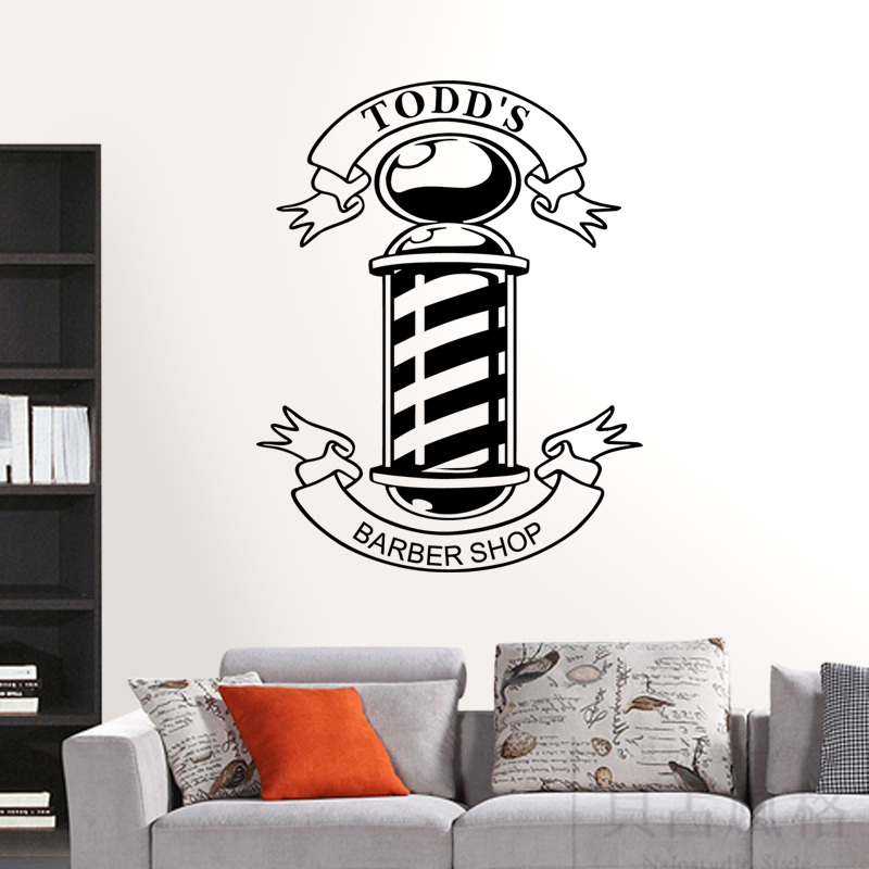 Free Shipping Barber Shop Home Decor Scissors Brush Comb Tools Hair Salon Mural Art Wall Decal Decoration