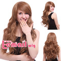 Free shipping Fashion Women Synthetic Hair 60cm Long Light Brown Wavy Wig