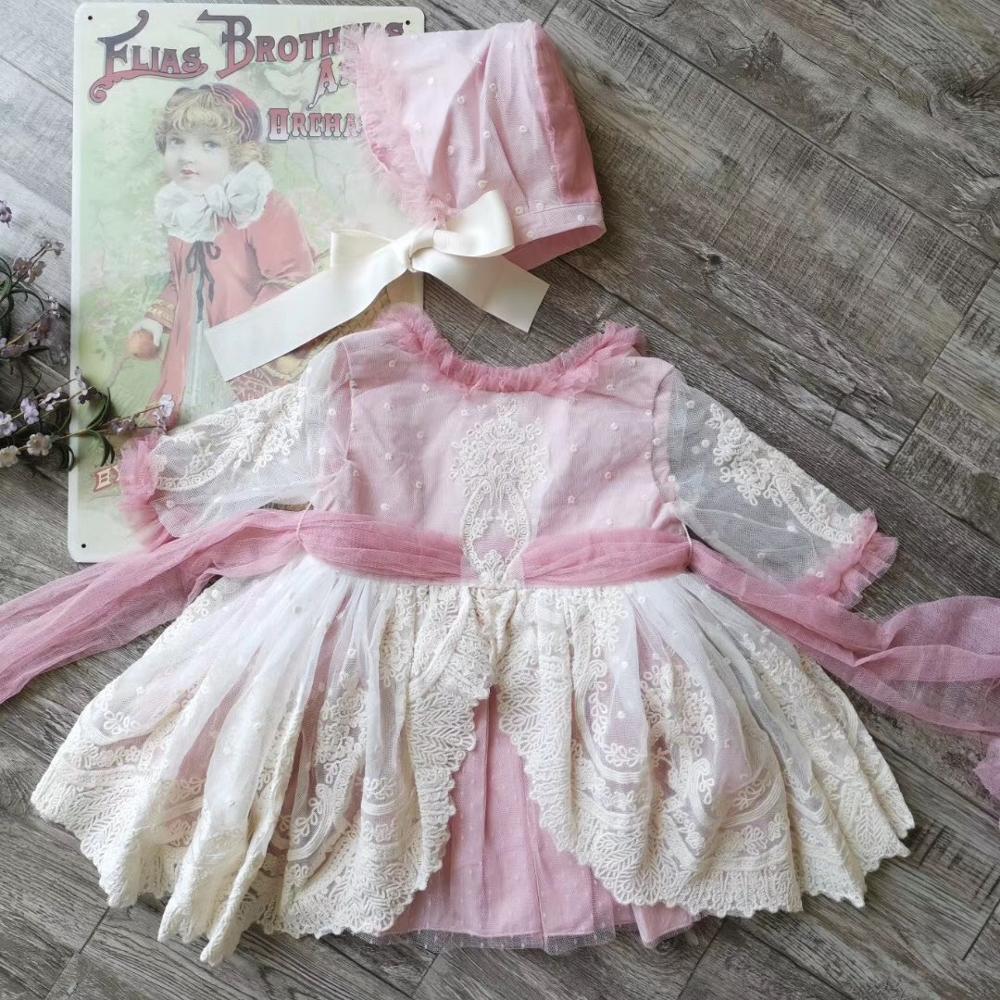 Bébé filles vêtements ensemble mini robe + casquette + bloomers dentelle rose couleur brodé doux bébé vêtements