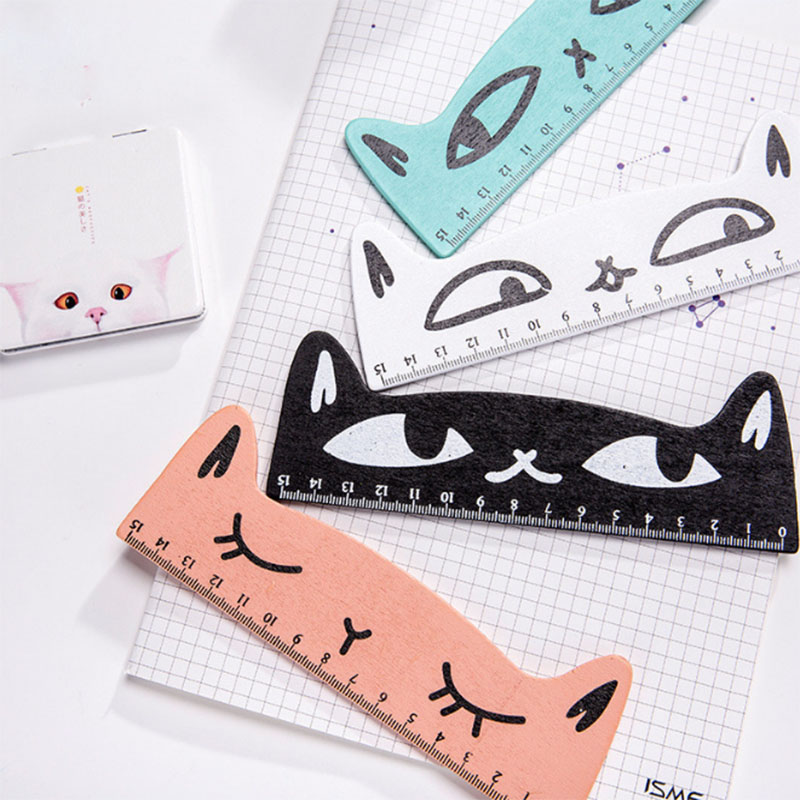 Kawaii Ruler Cute Cat Wooden Ruler Creative Cartoon Color Student 15 Cm Hand Ruler Office School Children Learning Stationery