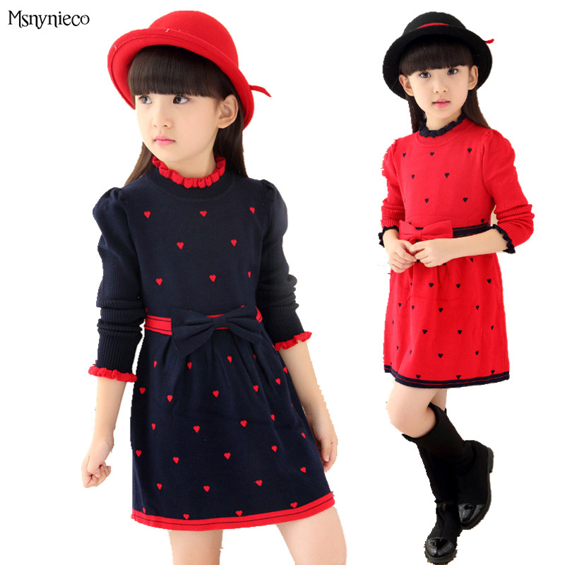 2017 Fashion Girl Dress Christmas Party Dresses Knitted Autumn Long Sleeve Kids Girls Clothes Children Clothing vestidos infanti fashion 2016 new autumn girls dress cartoon kids dresses long sleeve princess girl clothes for 2 7y children party striped dress