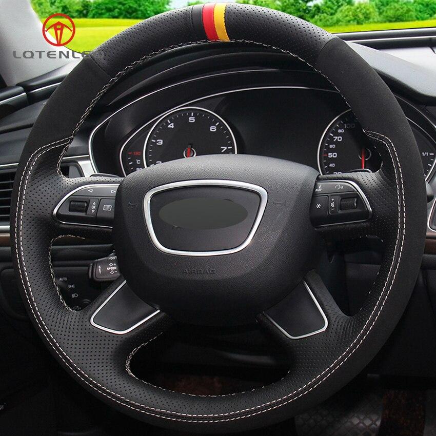 LQTENLEO Black Genuine Leather Suede Car Steering Wheel Cover for Audi Q7 2012 2015 Q3 Q5