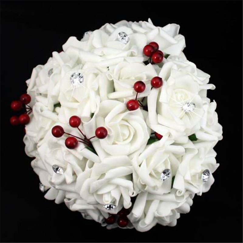 Artificial Cherry Decoration Bridesmaid Flower Wedding Bouquet Artificial Buquet de noivas Handmade Rose Crystal Bridal Bouquet  (3)