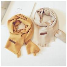 Корейский однотонный Повседневный осенне-зимний хлопковый детский шарф, шаль, имитация кашемира, одежда для мальчиков и девочек, Accessories-LHKSF001F