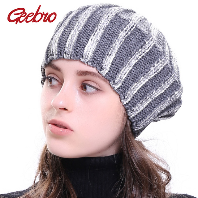 8a9c98b5b1e Geebro Women s Bronzing Berets Hat Ladies Spring Casual Black Knitted  French Beret Cap Thin Acrylic Berets for Women Hats