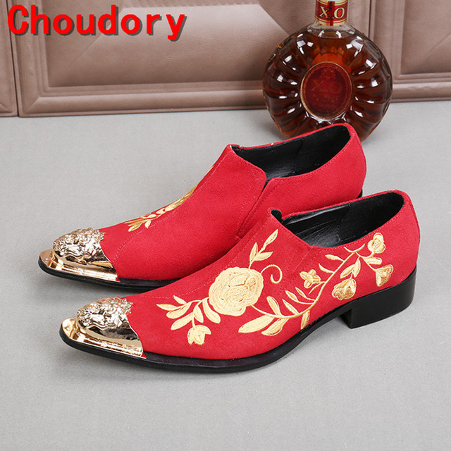 Choudory mens classic shoes spiked loafers black red wedding gold toe dress  shoes brogue flats slip on shoes-factory-direct 7b9ae97bf96f