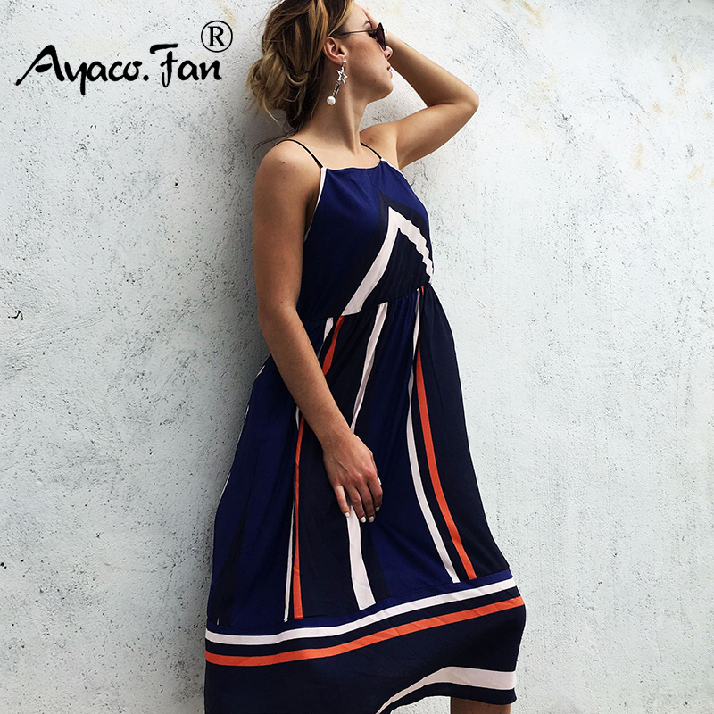 <font><b>Casual</b></font> <font><b>Striped</b></font> <font><b>Beach</b></font> <font><b>Dresses</b></font> 2019 <font><b>Women</b></font> <font><b>Sexy</b></font> <font><b>Sleeveless</b></font> Spaghetti Strap Midi A-Line Summer Party <font><b>Dress</b></font> Slip Sundress vestidos image
