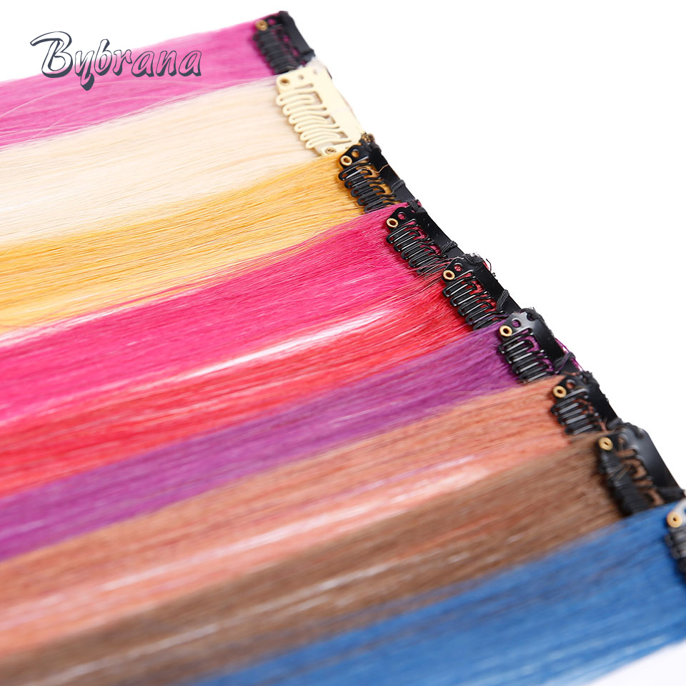 Bybrana Human Hair 1 Clip In Human Hair Extensions 18 One Piece Brazilian Hair Straight Remy Hair Red Blue Pink Color