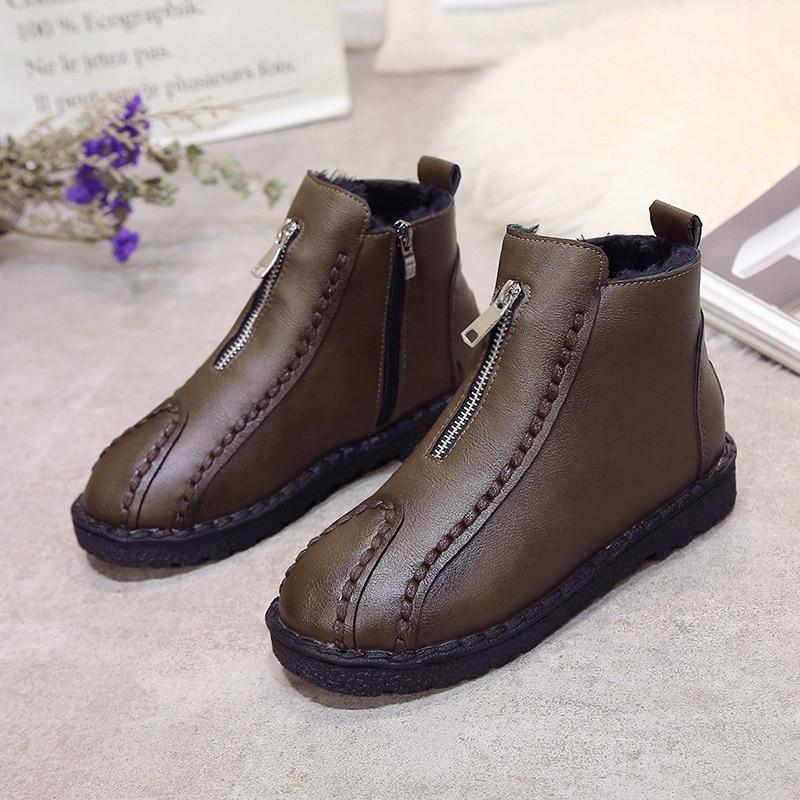 Más Hecho Tobillo Negro khaki Cremallera Botas Cuero Calzado Redonda 40 Zapatos A 35 Mano Mujer Punta De Tamaño nXUfq0Bx
