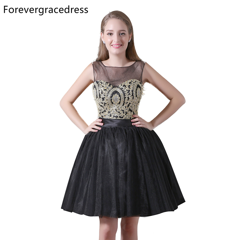 Forevergracedress Real Photos Illusion Tulle   Cocktail     Dress   Sexy Sleeveless Knee Length Short Homecoming Party Gown Plus Size