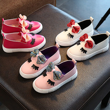 hot deal buy cute kids girls shoes fashion new bow pu soft cartoon formal party shoes evening leather fancy girls casual shoes