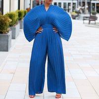 Pleated Plain Slim Wide Legs Jumpsuit Women Fashion Off Shoulder Casual OL Office Playsuits Summer Roompers Bodysuit Long Pants