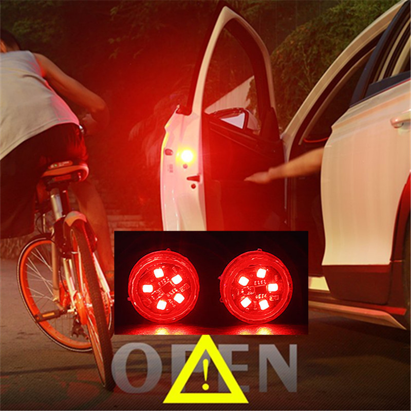 2pcs Magnetic Wireless LED Car Door Opening Warning Lights Side Door Edge Strobe Flashing Anti Collision Led Safety Lamps Auto