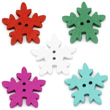 20Pcs Mixed Random Christmas Snowflake Sewing Wood Buttons 2 Holes DIY Crafts Scrapbook Ornaments Making Findings 25x24mm