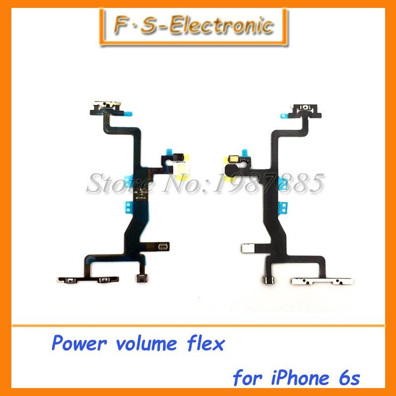 """imágenes para 10 unids/lote calidad superior nuevo power on off flex y botón de volumen del micrófono flex cable para iphone 6 s 4.7 """"envío Gratis"""