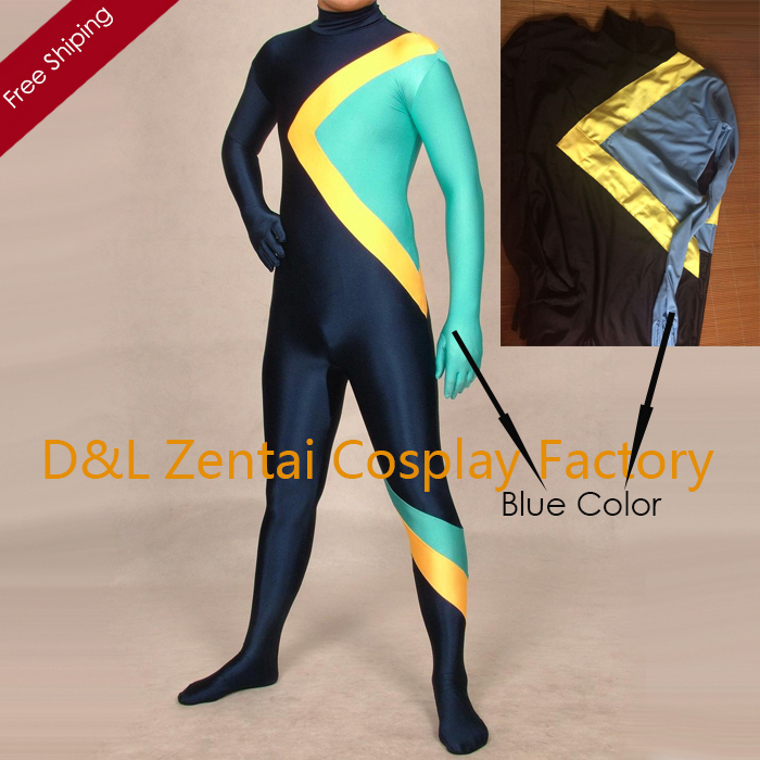 Jamaican Halloween Costume rasta cap with dreads Free Shipping Dhl Cool Runnings Jamaican Bobsled Team Halloween Costumes Lycra Zentai Spandex Unisex Catsuit Blueyellowblack