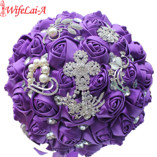 Aliexpress.com : Buy Luxury Bride Flower Bouquet Royal Purple Brooch ...