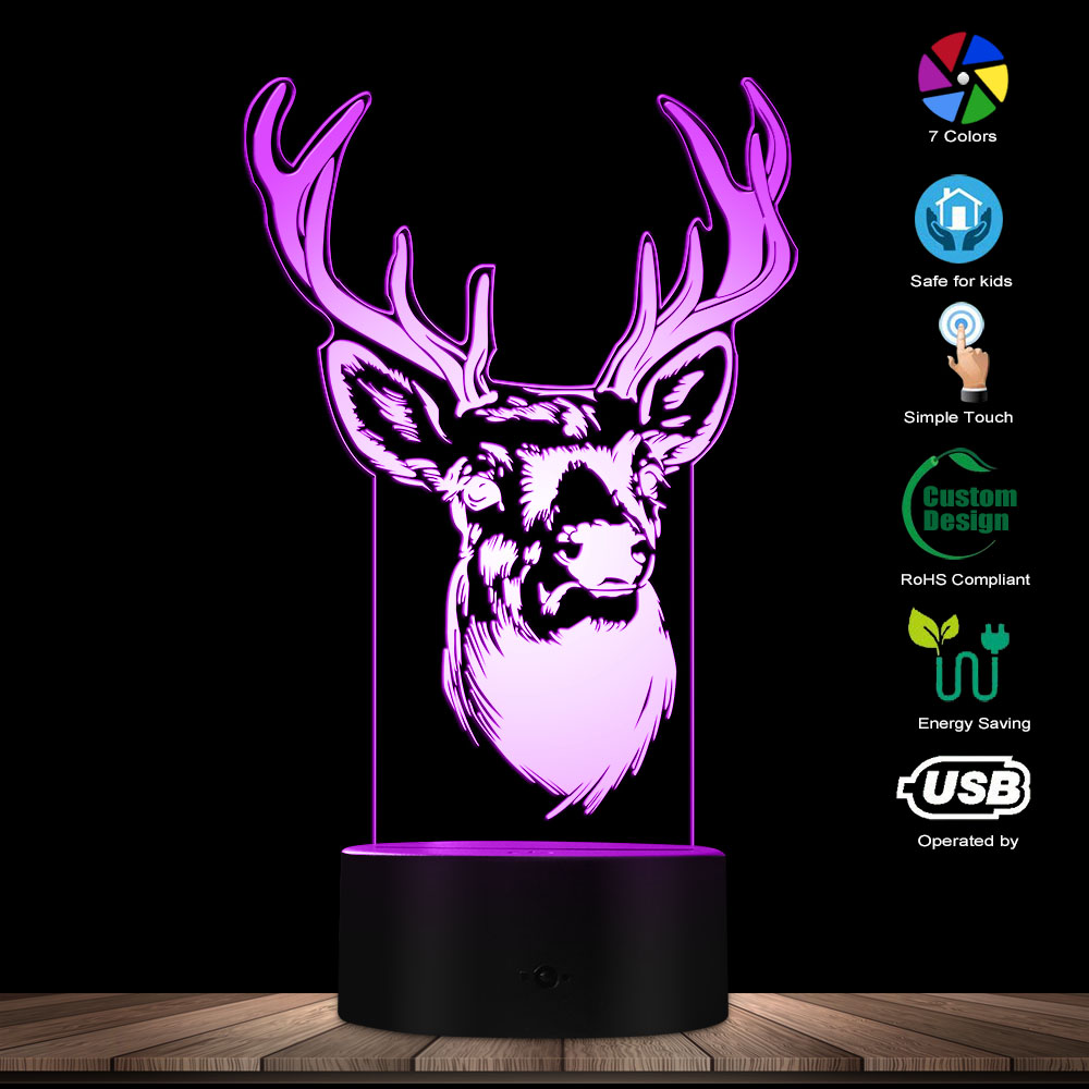 Deer Head Deer Antler 3D Optical Illusion Light Woodland Deer Buck Wildlife LED Creative Night Light Decorative Table Lamp