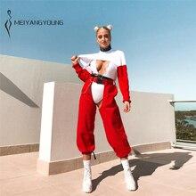 купить!  Harajuku Брюки-карго Streetwear Red Hip Hop Pants Женщины Сексуальные брюки в стиле хип-панк Pantalo