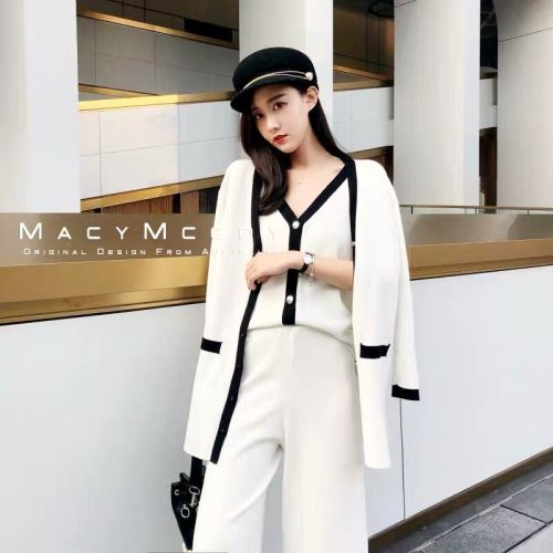 Spring Knitted 2 Piece Set Women Office Lady Year-old Female Costume Ensemble Femme Deux Pieces Conjunto Feminino Tracksuit