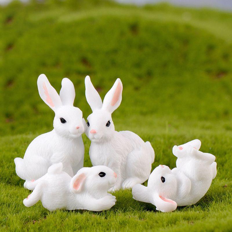 4Pcs/Set Garden Cute White Rabbits Miniature Resin Figurine Home Decor Micro Landscape Craft Plant Pot Fairy DIY Ornament