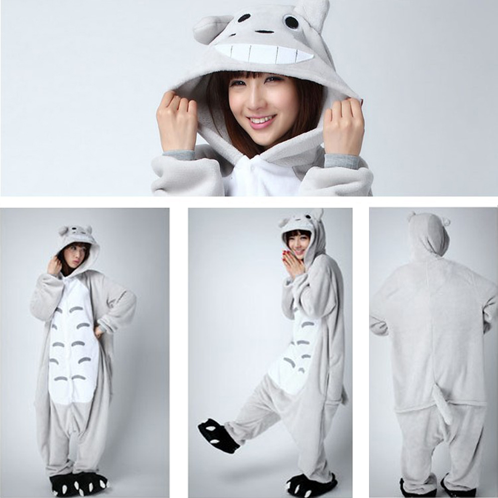 Adults Flannel Totoro Onesie Pyjamas All in One Pyjama Suits Cosplay Costumes Garment Cute Cartoon Animal Onesies Pajamas Totoro