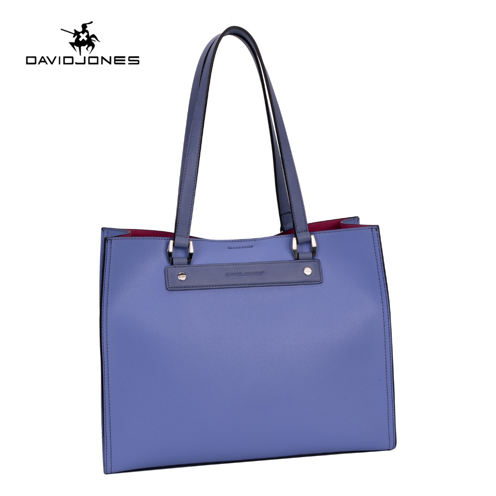 DAVIDJONES Fashion patchwork designer cattle PU bags women handbag brand high qu