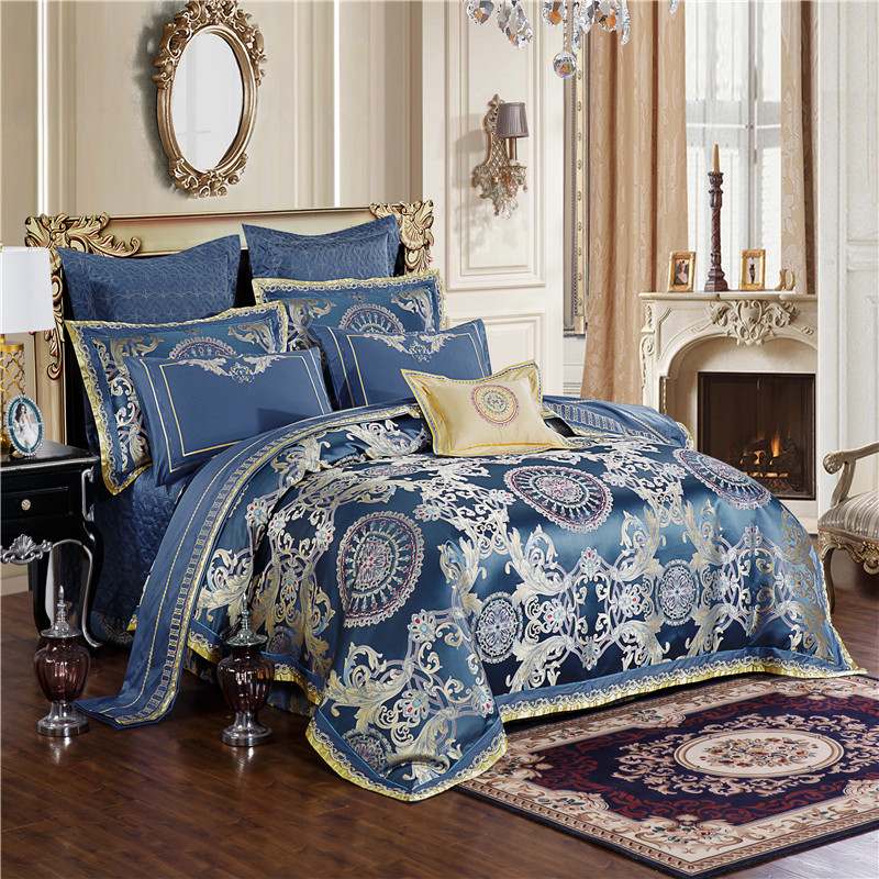 Blue Luxury Royal Bedding set King Queen size Bed set Embroidery Satin Jacquard duvet cover bed/flat sheet set bed cover set
