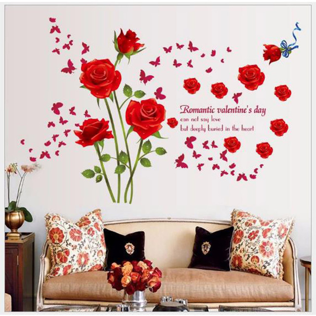 diy romantic red roses wall stickers bedroom entrance hall living