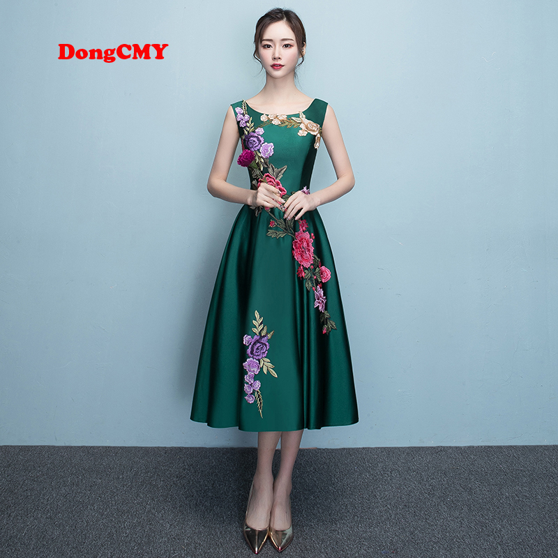 DongCMY 2019 new fashion bandage   prom     dresses   green elegant Flowers Short women party   dress