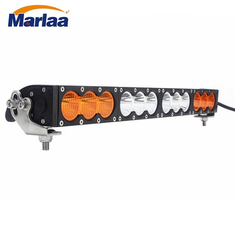 Однорядные 120 Вт светодиодный свет работы бар для грузовиков Atv УАЗ 4x4 Offroad трейлер Combo Луч Amber белый Предупреждение Барра противотуманные фар...