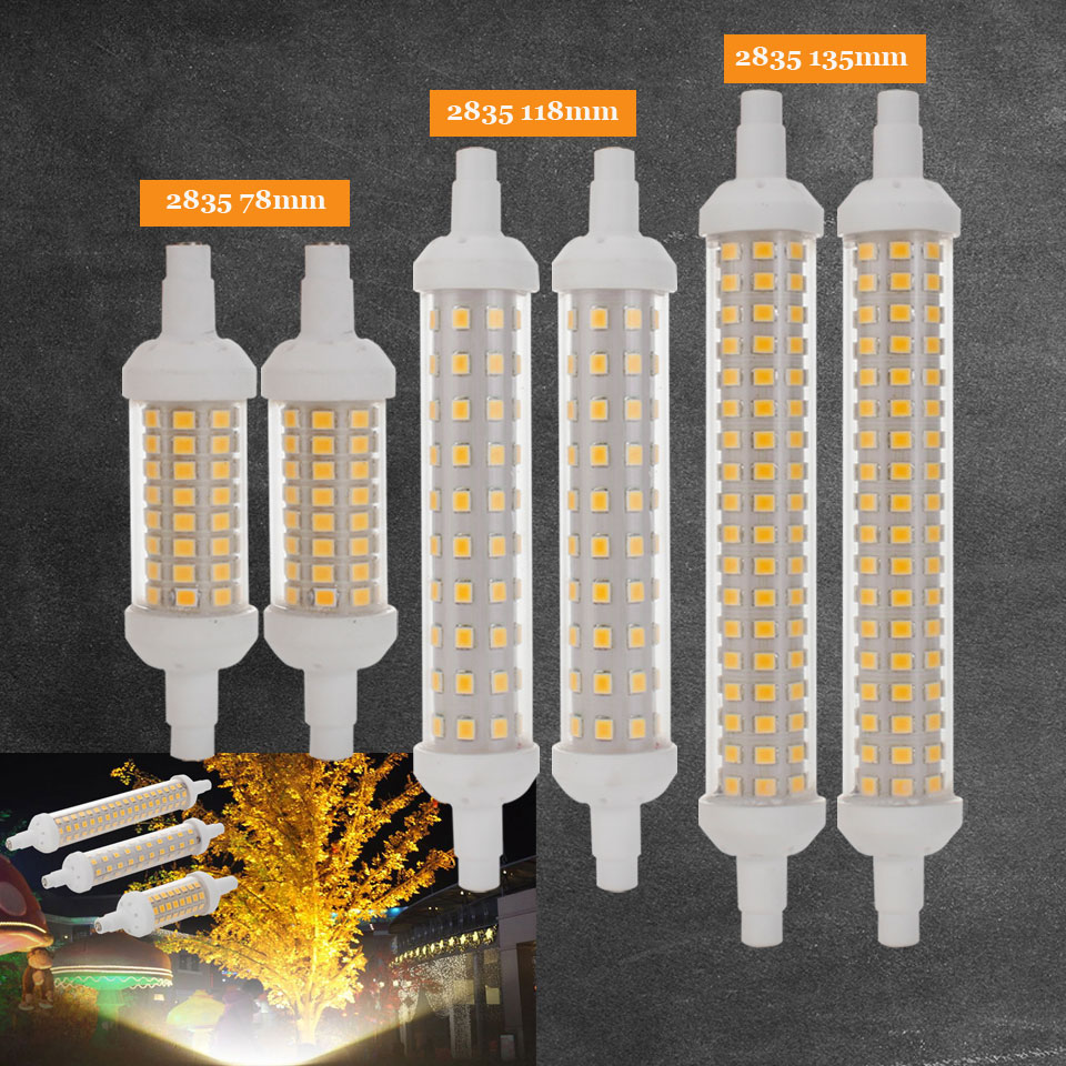 Ceramic body R7S LED Lamp 10W 15W 20W SMD 2835 78mm 118mm 135mm R7S LED Light Bulb AC220V Energy Saving Replace Halogen Light omto r7s led corn 20w light 2835 smd 189mm 144leds ac85 265v