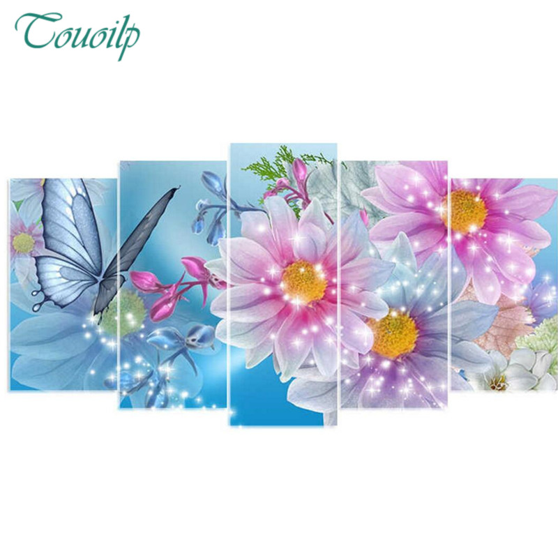 Touoilp 5d diy diamond embroidery butterfly&flower 5PCS diamond painting Cross Stitch full drill Rhinestone Multi picture gift