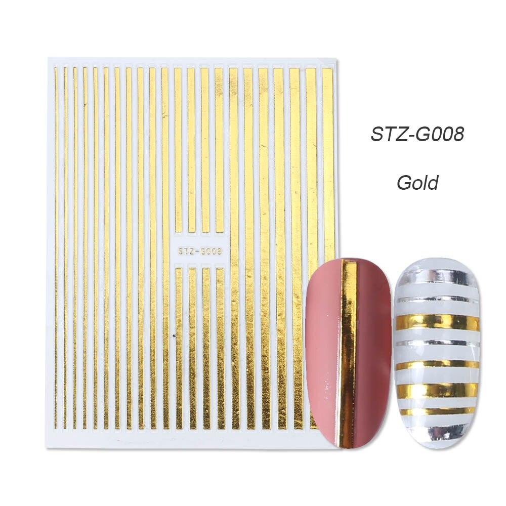 1 шт золотые Серебристые 3D наклейки для ногтей прямые изогнутые вкладыши полосы ленты обертывания геометрический дизайн ногтей украшения BESTZG001-013 - Цвет: STZ-G008 Gold
