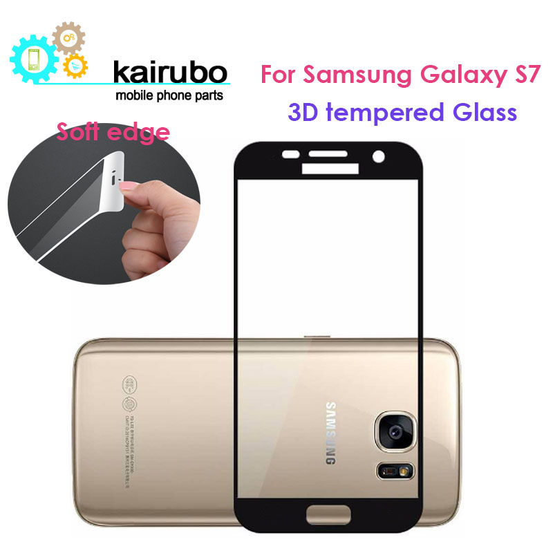 5PCS 3D soft edge Full Cover Tempered Glass For Samsung Galaxy S7 0.3mm High Quality Screen Protector Film