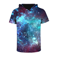 Raumdigitaldruck Hooded T-shirt Kurzarm T-shirts O-ansatz Shirts Frauen Beiläufige Lose Atmungsaktive Oberteile Harajuku Punk Camiseta