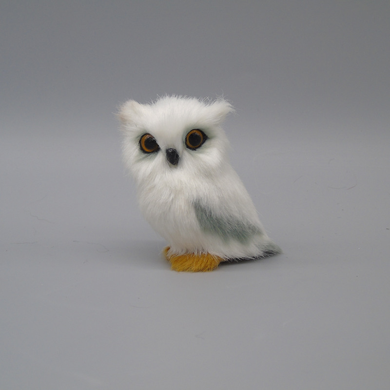 Cute Lovely Owl White Black Furry Christmas Bird Ornament Decoration Adornment Simulation 7cm For Home Decor Kids Gift