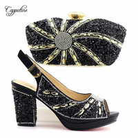 Fashion black party high heel pumps and purse bag nice shoes and handbag set with stones T2867,heel height 9.3cm