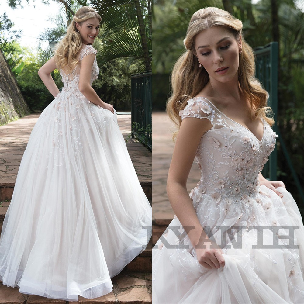Robe de mariee Romantic V Neck 3 D Flowers Wedding Dress 2019 New Arrival Beaded Lace A Line Wedding Gowns Vestidos de novia