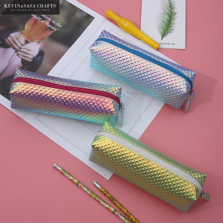Iridescent Laser Pencil Case Quality PU School Supplies Bts Stationery Gift Pencilcase School Cute Pencil Box Bts School Tools недорого