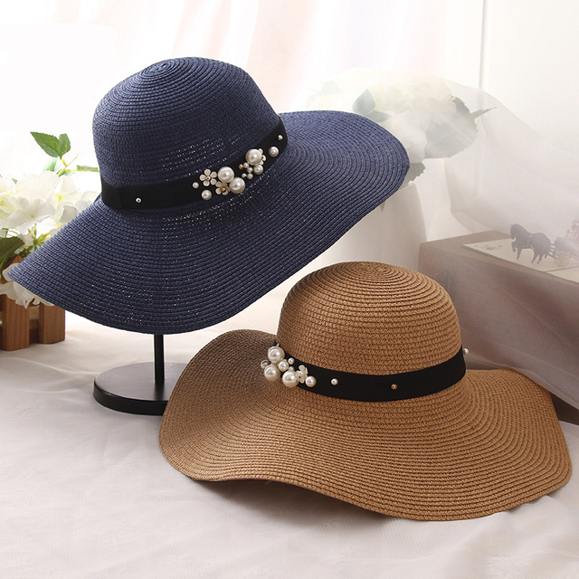 0ddafc9f HT1163 High Quality Summer Sun Hats for Women Solid Large Brimmed Sun Hats  Black White Floppy Hats with Pearls Ladies Beach Hat