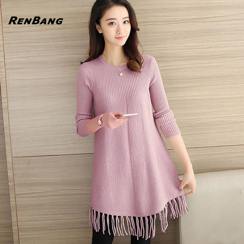 RENBANG Women Sexy Sweater Dress Spring Fashion O Neck Tassel Basic Mini Solid Color Knitted Dress Pullover Maxi Dress