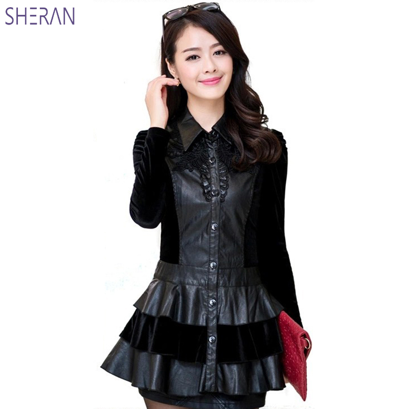 2019 Autumn New PU Faux   Leather   Jackets Women Plus Size Fashion Long Ruffles Stitching Lapel Black Dress Casual   Leather   Coats